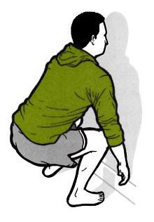 Achte darauf, dass du nicht mit den Knien nach innen kippst (X-Beine)!